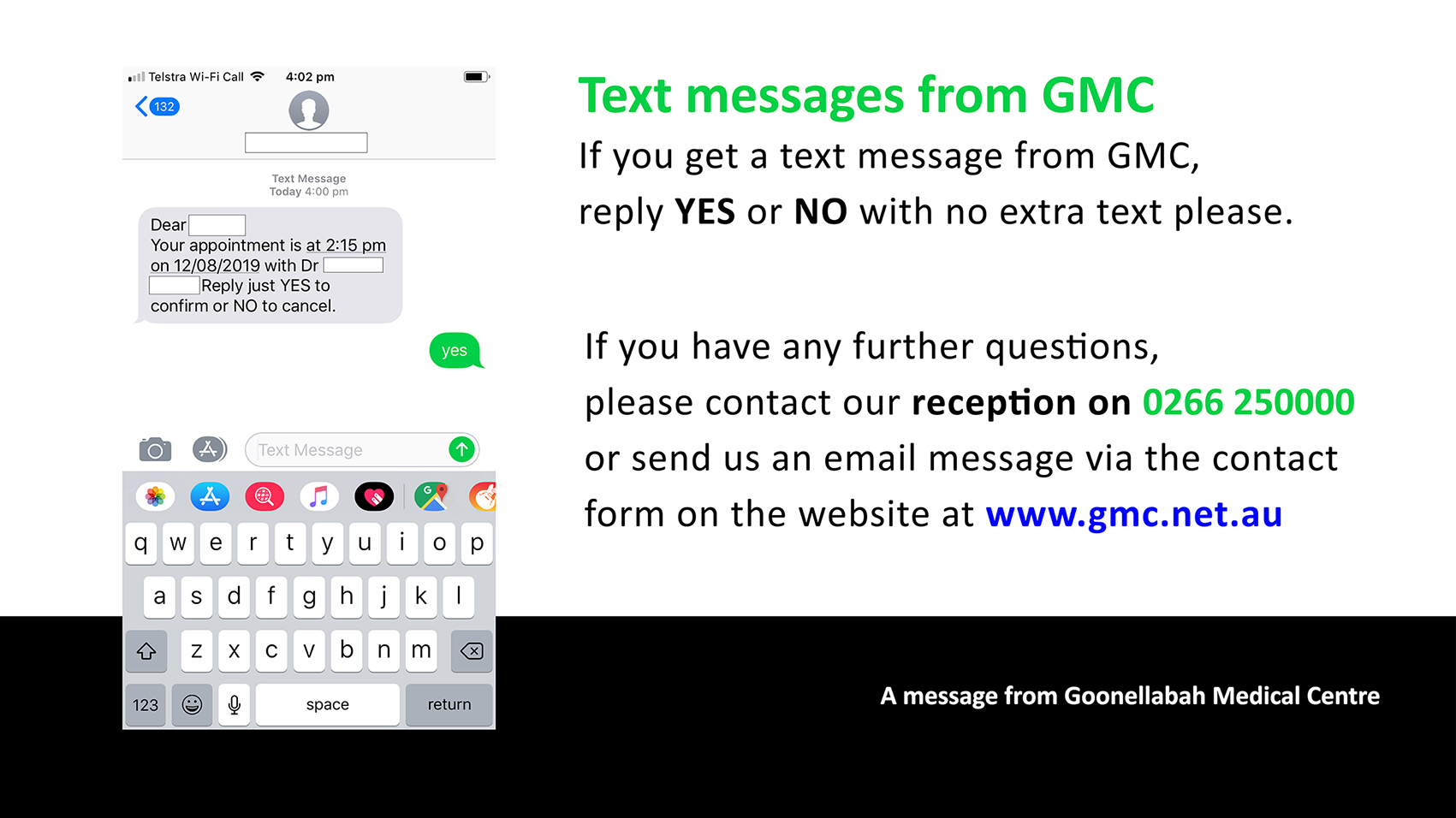 Text message from GMC